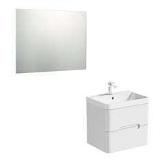 Mode Ellis white wall hung vanity drawer unit and basin with mirror Vanity Drawers, Vanity Units, Contemporary Bathroom Furniture, Bathroom Storage Units, Wall Hung Vanity, Drawer Unit, Storage Solutions, Basin, The Unit