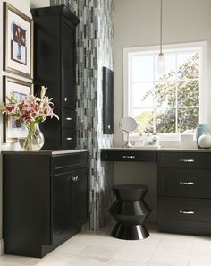 Bathroom, Light & Timeless, Photo 132 - KraftMaid Photo Gallery Black and blue Decor, Kraftmaid, Kitchen Cabinet Design, Bathroom Style, Interior, Built In Vanity, Kraftmaid Cabinets, Custom Kitchens Design, Home Decor