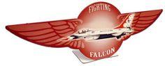 Vintage and Retro Tin Signs - JackandFriends.com - Retro Fighting Falcon Table Topper  12 x 4 Inches, $14.98 (http://www.jackandfriends.com/retro-fighting-falcon-table-topper-12-x-4-inches/)