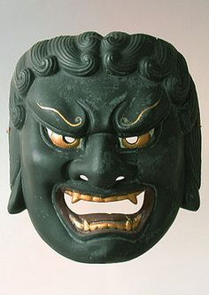 Fudo mask  Noh theater,   Japan  7 inches, painted ceramic  One of the less-known characters in the Noh plays is Fudo, the God Spirit