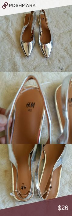 H&M Pointed flats Silver flats,  so trendy  !!! H&M Shoes Flats & Loafers