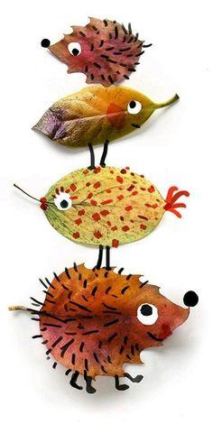 Animais feitos de folhas