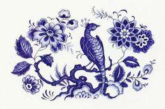 "8 Oval Blue Oriental Pheasant Bird Onion Tree 2 1 4"" Waterslide Ceramic Decals | eBay"
