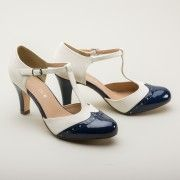 1920s Style Shoes  Gatsby Two-Tone T-strap 1920s Shoes by Chelsea Crew BlueWhite $68.00 AT vintagedancer.com