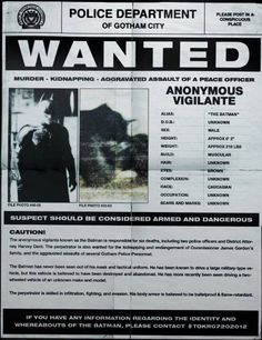 If seen, please contact the Gotham City Police Department.
