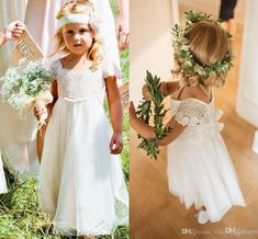 Bohemia Lace Chiffon A Line Flower Girls Dresses Short Sleeves Country Wedding Dresses For Kids Cute Long First Communion Dresses White Flower Girl Dresses, Wedding Flower Girl Dresses, Flower Girls, Wedding Flowers, Mix Match Bridesmaids, Dresses Short, Girls Dresses, Wedding Dresses For Kids, Wedding Ideas