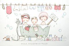 alle zussen in de Badkuip. Cute Illustration, Watercolor Illustration, Painting For Kids, Art For Kids, Meninos Country, Baby Posters, Decoupage Vintage, Vintage Birds, Bathroom Art