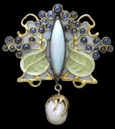 Louis Zorra (possibly born in Italy and working  in Paris, dates unknown), circa 1900 brooch with opal  and pearl, gold, silver, enamel and by candy