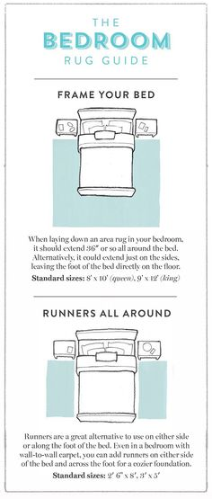 excellent infographic guides on this site showing what size rug to buy for every room in the house