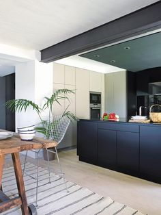 STEELWORK: Exposed steel feature beam positioned to the underside of the existing ceiling level Exposed Ceilings, Exposed Beams, Ceiling Beams, Modern Interior Design, Interior Architecture, Victorian Architecture, Metal Beam, Open Plan Kitchen Living Room, Steel Beams