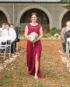 A burgundy lace cap sleeve bridesmaid dress is beautiful for an outdoor fall wedding | Photo Instagram/bmaeivey
