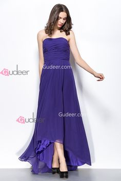 Simple High Low Hem Strapless Ruched Regency Chiffon Prom Dress