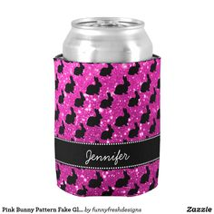Pink Bunny Pattern Fake Glitter Name Can Cooler