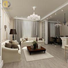 гостиная в двухкомнатной квартире в стиле неоклассика