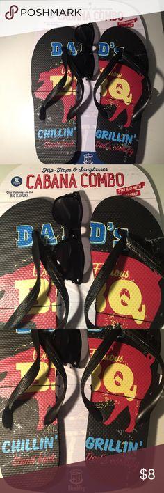 Wembley NWOT L Men's Cabana Combo Flip Flops & Sandals Dads Chilling' Grillin'