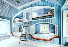 How about this design for a guest bedroom, for a summer cottage or mountain villa - especially with children.  How much fun would they have?  Attach a sun porch with the window seat and your guest are in heaven. Click on pin to see my client's work.  He didn't do this one but he could.