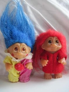 ORIGINALS ~  Vintage Lot of 2 Troll Dolls by Dam 1985 Clown Red Shirt 1980's Toys | eBay