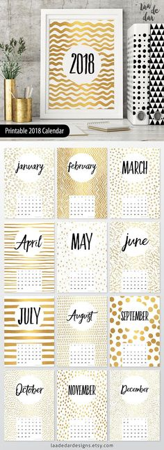 2018 Printable Calendar - Size: A4 (210 x 297mm) THIS IS NOT REAL GOLD FOIL - This listing is for a digital file INSTANT DIGITAL DOWNLOAD of this artwork - No physical item will be sent **This design is 100% unique** HOW TO USE IT .................................................. - PRINT on paper or cardstock... - FRAME it! - or SPIRAL BIND it! FILES YOU WILL RECEIVE .................................................. - 1x PDF File - x13 JPEG Files WHAT TO DO NEXT ...........