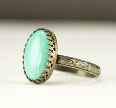 Turquoise Stacking Ring  Sterling Blue Oval Turqoise by PPennee
