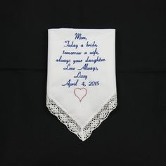 Embroidered Wedding Handkerchief gift Mother of by NapaEmbroidery
