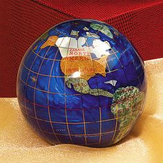 Caribbean Blue Gemstone Globe Paperweight for Library Desk.