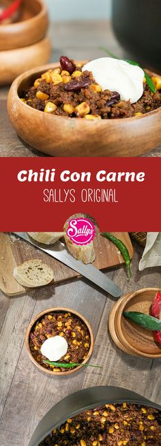 Chili Con Carne / Sallys Original / Crowdfeeder & Party-Food - In my opinion, the perfect chili con carne must have a strong taste, be prepared with kidney beans - Cilli Con Carne Rezept, Iftar, Susan Recipe, Good Food, Yummy Food, Party Food And Drinks, Street Food, Sweet Recipes, Food Porn