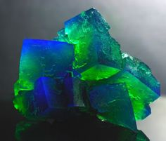 Thunderstorm fluorite. The dramatic differences in color are caused by different impurities in the minerals.