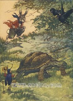 Charles Folkard Aesop's Fables, 1912 Tortoise and the Hare