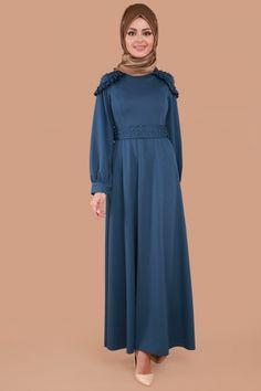 C.M.N - Omuzu ve Kemeri İncili Elbise MDP3048 İndigo (1)