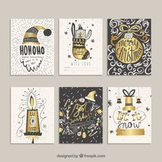 Golden christmas cards in hand drawn style Free Vector
