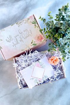 For anyone who wants to fill their own bridesmaid proposal boxes, you'll love our custom bridesmaid proposal box! They come assembled ready for you to fill with goodies & customize on your own. Perfect for the DIY bridesmaid proposal box & a unique asking bridesmaids idea! If you need more asking bridesmaids ideas or bridesmaid proposal ideas, make sure to check out our entire selection of bridesmaid gifts - we have bridal party gifts that they'll love! #bridesmaidproposal… Cute Bridesmaids Gifts, Bridesmaid Thank You, Bridesmaid Gift Boxes, Bridesmaid Proposal Cards, Asking Bridesmaids, Will You Be My Bridesmaid, Bridesmaid Ideas, Wedding Gifts For Couples, Personalized Wedding Gifts