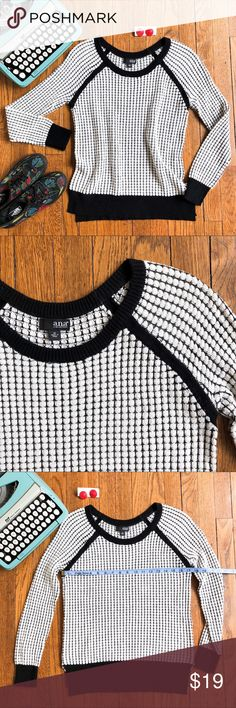 NWOT a.n.a. Black & White Textured Sweater New W/ Out Tags, Never Worn, No Flaws Black & White Geometric Dot Textured Sweater Angled Baseball Sleeves w/ Contrast Stitching Contrast Banding at Neck, Wrists, & Hem Side Vent Notches At Hem Size M, Measurements in Photos Mid-Weight, Very Soft- 53% Cotton, 29% Rayon, 18% Acrylic a.n.a Sweaters Crew & Scoop Necks
