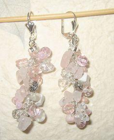 Cascading Dangle Earrings Rose Pink White Quartz by SerebaDesigns, $42.00