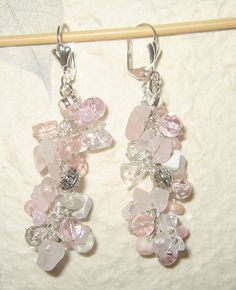 Cascading Dangle Earrings  Rose Pink and White by SerebaDesigns,