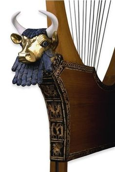 The Queen's Lyre: found in the tomb of Queen Pu-abi. The front panel, made of lapis lazuli, shell and red limestone, was attached with bitumen Sumerian culture
