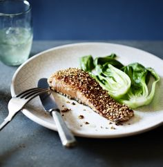 A deliciously simple way to cook a salmon fillet - sweetened with rice wine and sesame then pan-fried