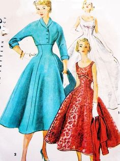 1950s Evening Gown Cocktail Dress Jacket Pattern Simplicity 4782 Beautiful Empire Party Dress Figure Flattering Vintage Sewing Pattern by SoVintageOnEtsy on Etsy https://www.etsy.com/listing/206694209/1950s-evening-gown-cocktail-dress-jacket
