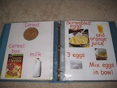 Learning to read recipe book.  Also good for allergen-free recipes, or a meal/snack menu!