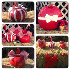 My Christmas pumpkins I made Christmas Pumpkins, Christmas Porch, Country Christmas, Christmas Ideas, Christmas Bulbs, Christmas Crafts, Outside Christmas Decorations, Pumpkin Ideas, Painted Pumpkins