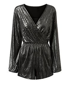 Girls On Film Silver Metallic Long Sleeve Wrap Playsuit  | New Look