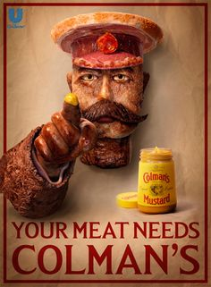 This Lord Kitchener poster replica was made of meat. 16 types. No word on who finally got to eat the remnants, probably rotting under hot lights after the photo shoot. I'm guessing a local dog got very lucky.