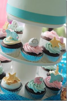 Mermaid party cupcakes - would be so cute for my niece's first birthday party!
