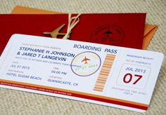 Boarding pass for wedding invitation