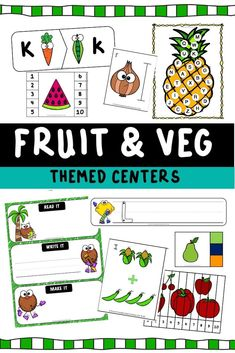 Fruits and Vegetables Themed Literacy and Math Centers Free Printable Worksheets, Worksheets For Kids, Free Printables, Early Math, Early Literacy, Early Learning, Easy Arts And Crafts, Preschool Crafts, Kids Crafts