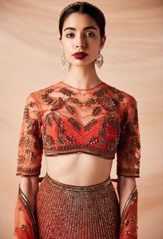 So, brides-to-be what are you waiting for just scroll down and checkout these trendy, designer and stunning blouse designs with some unique and fresh colours which will make you look beautiful on your wedding and related ceremonies! Sari Blouse Designs, Bridal Blouse Designs, Blouse Patterns, Blouse Styles, Lehenga Style, Lehenga Blouse, High Neck Saree Blouse, Indian Blouse, Indian Wear