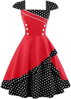 c1746c0bf66 50s 60s Retro Rockabilly Tea Party Pinup Plus Size Swing Dress at Amazon  Women s Clothing store