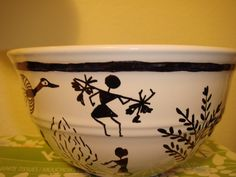 A new spin to the Sharpie and ceramic idea........did this warli art on the bowl with a black Sharpie pen and ....... voila!!!!!!!