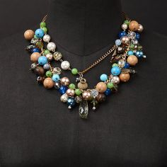 Mixed Media Bohemian Necklace with vintage and upcycled by RUPHUS