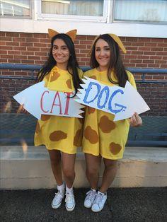 CatDog Halloween Costume #halloweencostumes #bestfriendcostumes  sc 1 st  Pinterest & Cat Dog Costume :) | spirit week | Pinterest | Cat dog costume ...