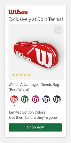 Wilson Advantage II Tennis Bag || Exclusively at Do It Tennis The Wilson Advantage II 2-Pack Tennis Racket Bag in is an inexpensive, yet well-made way of carrying up to 2 tennis racquets onto the court with you. The bag is made of a sturdy canvass material and weighs 13 ounces, so it won't be too heavy to carry. It fits both shorter junior frames, as well as standard adult racket frames. The neutral colors will be desireable to boys, girls, men, and women alike. #wilson #wilsontennis #tennis Tennis Bags, Tennis Racket, Red And White, Neutral Colors, Boys, Girls, Frames, Women, Baby Boys